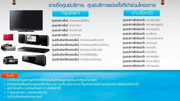 โซนี่ไทยช่วยน้ำท่วมลูกค้าบริการตรวจเช็คฟรี