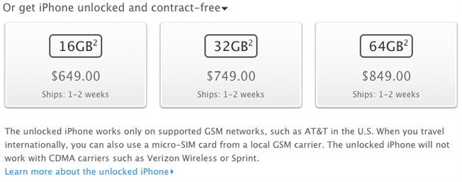 Apple จำหน่าย iPhone 4S ไม่ล็อก ราคาเริ่มต้น 2 หมื่นถ้วน