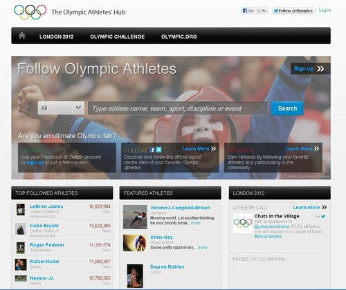 โอลิมปิก 2012 เปิดหน้าเว็บรวม Social Network นักกีฬา